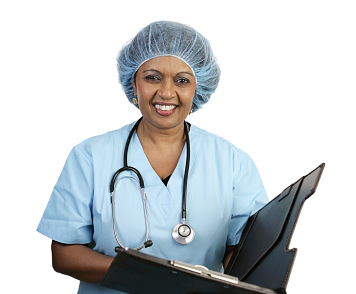 physician dressed in blue scrubs holding a chart